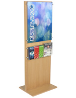 Wooden Poster Stand With 5 Brochure Holders for Retail Stores