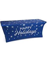 Pre-printed blue and white 6' spandex tablecloth with holiday message