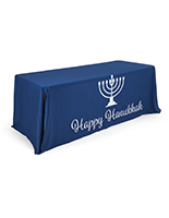 "6' ""Happy Hanukkah"" cloth table cover with Menorah graphic"