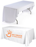 Printed Table Throw: White, 6' 1 Color