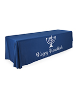 "Blue 8' ""Happy Hanukkah"" cloth table cover"