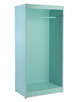 Light blue modern open armoire clothing display