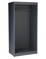 Modern open clothing display armoire with garment rail