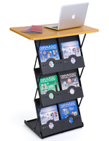 Folding Magazine Rack with Tabletop and 6 Literature Pockets