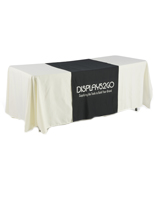 "Metallic Lettering 30"" Black Table Runner, 3-Sided"