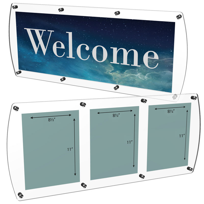 Large format sign holder with (8) standoffs
