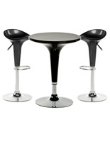 Black Trade Show Table & Stool Set, 3-Pieces