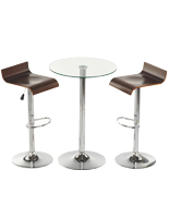Glass High Top Table and Chairs