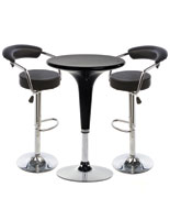 Black Hydraulic Bar Stool and Table Set of 3 Pieces