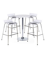 White Bar Table and Chair Set of 4