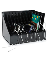 Multi-Device Charging Station for 10 Tablets or Cell Phones