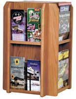 Revolving Wood Magazine Rack with Adjustable Dividers
