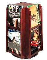 Rotating Wooden Literature Holder with Clear Pockets