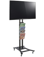 Black Plasma TV Stand with 4 Clear Literature Pockets & Casters