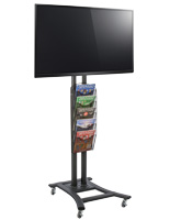 Black Plasma TV Stand with 5 Mesh Literature Pockets, Hardware Included