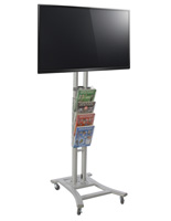 Floorstanding Silver Plasma TV Stand with 4 Clear Literature Pockets