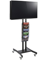Double Sided TV Stand with 5 Mesh Literature Pockets, Height Adjustable