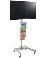 Height Adjustable LED TV Stand with 4 Acrylic Literature Pockets