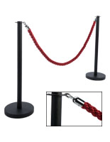 Red Queue Rope with Black Posts