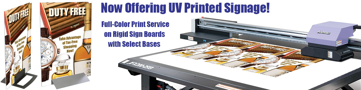 Flatbed UV-cured print process for advertising signage.