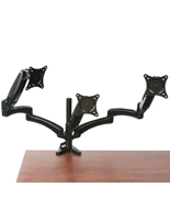Triple Monitor Desk Mount Holds Three Computer Screens