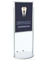 Silver 24 x 36 Poster Stand with Wheels with PVC Inserts