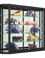 Wall Mounted LED Display Case, Sliding Glass Doors
