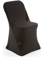 Folding White Plastic Chair with Black Stretch Cover