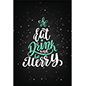 "24"" x 36"" eat, drink, merry holiday cling sticks without adhesive"