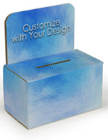 Custom raffle ticket box with full-color artwork