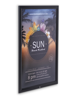 Protective lens included with 20 x 30 black weather resistant snap frame
