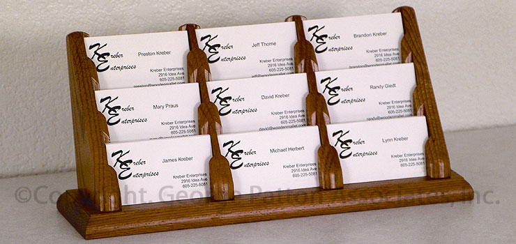Tiered wooden contact card display nine pocket design business card organizers colourmoves