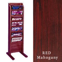 Magazine Stand In Red Mahogany Features Angled Design