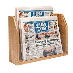 wooden newspaper rack