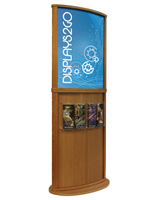 Golden Oak Poster Stand with Curved Design