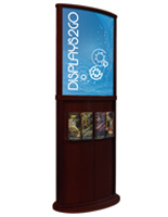 Red Mahogany Poster Stand with Curved Design