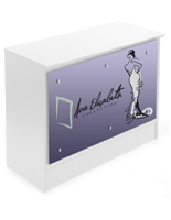 4' Sales Counter with Custom Graphics, Silver Standoffs