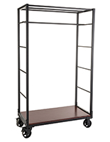 Industrial wheeled garment display rack with urban pipe design