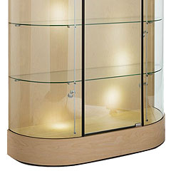 wide oval display cabinets