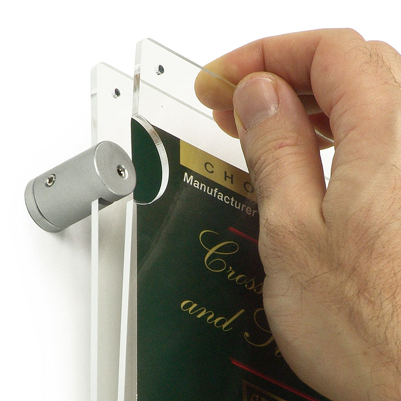 Popular poster holders with side-mounted standoffs enable fast changes