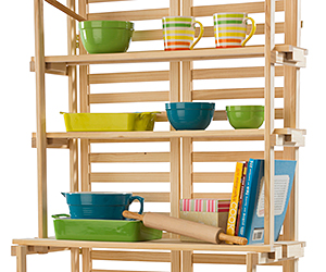 Wood shelf stand with kitchen accessories