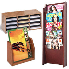 Wooden wall & counter magazine displays