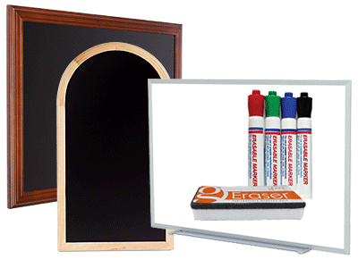 white, chalk and wet erase write-on boards