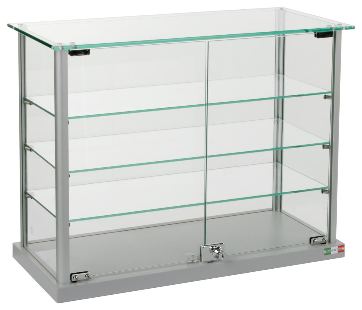 Countertop Aluminum Display Cases Tempered Glass Top