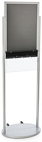 Silver 18 x 24 Wheeled Poster Display with 8 Flyer Pockets with Rolling Base