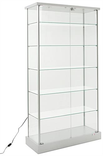 glass display cabinet wheeled glass cabinets locking 5 shelf fixtures 15831
