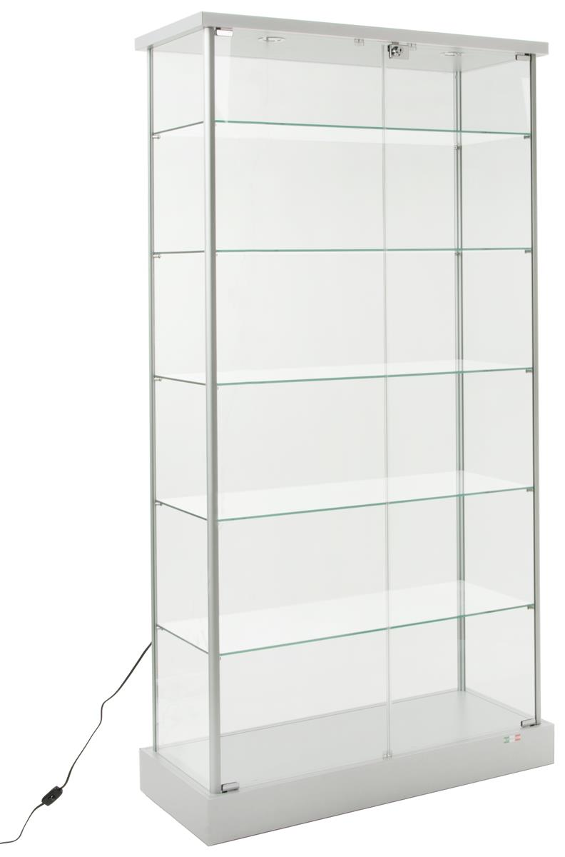 Wheeled Glass Cabinets Locking 5 Shelf Fixtures