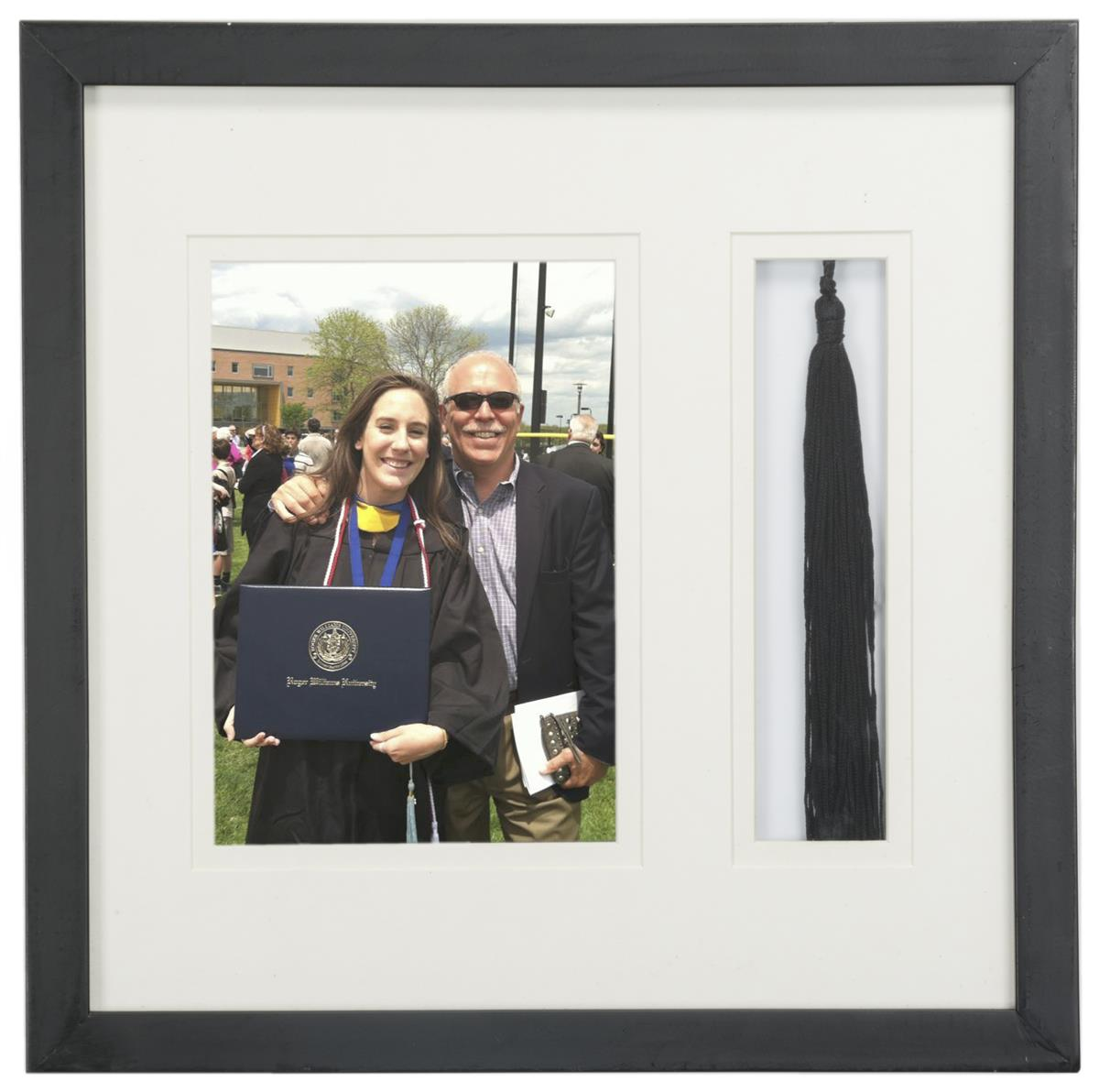 Matted 5x7 Photo And Tassel Display Black Dual Section Frame