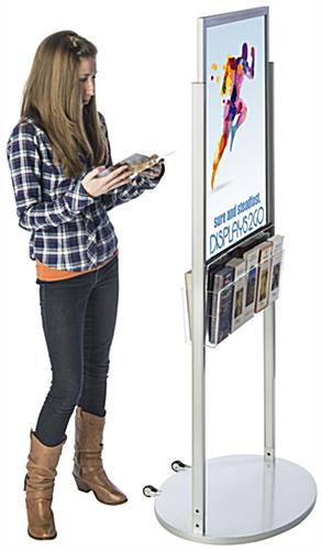 Silver 22 x 28 Mobile Poster Display with 10 Information Pockets for Visuals