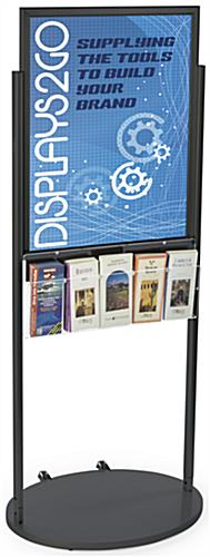 Black 22 x 28 Movable Poster Stand with 5 Literature Slots for Leaflets